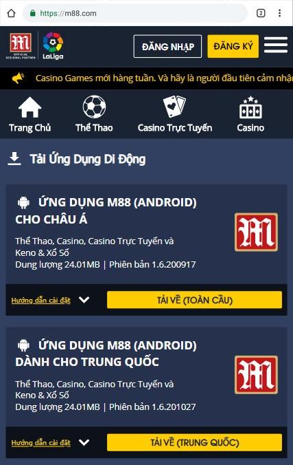 Giao diện bước 1 tải M88 trên thiết bị Android