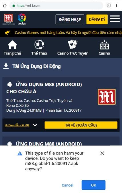 Giao diện bước 2 tải M88 trên thiết bị Android