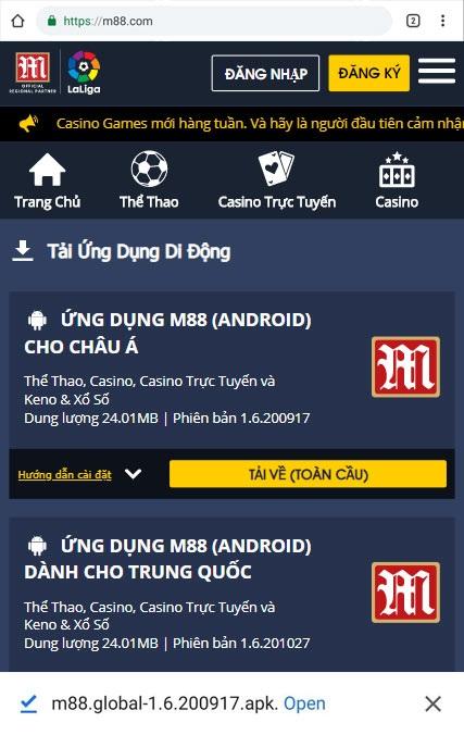 Giao diện bước 3 tải M88 trên thiết bị Android